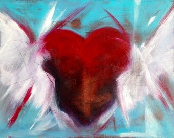 My Heart Took Flight Birthday Love Original Painting