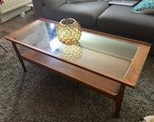 Retro Mid Century Solid Teak and Glass Rectangular Coffee Table