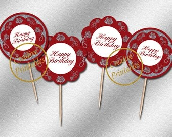 Instant Download, Red & Silver Cupcake Toppers, Cupcake Toppers, Party Circles, Elegant Party Ideas