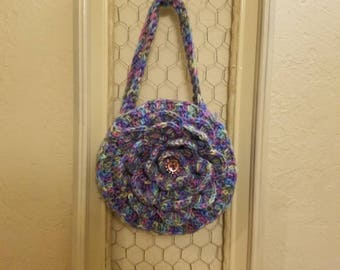 Crocheted flower purse.