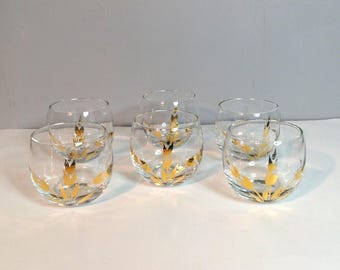 Set of 6 Mid Century Cocktail Glasses / 22k Wheat Pattern Roly-Poly Tumblers / 6 Oz. Cocktail Glasses / 1960's