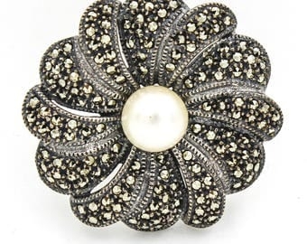 JUDITH JACK Vintage Flower Brooch in with Pearl Center and Marcasite