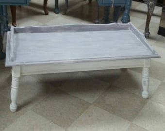 Gray and White coffee Table, Painted Coffee Table, Shabby Style Coffee Table. Country Style coffee Table, Farmhouse Style Coffee Table