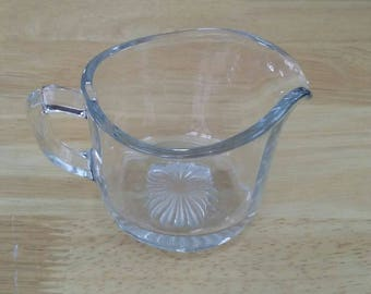 Glass Creamer, Vintage Creamer, Clear Glass Creamer, Mid Century Creamer, Syrup Pitcher, Small Pitcher, Gift Idea, Clear Glass Syrup Pitcher