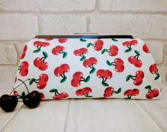 Cherry clutch bag, evening bag, purse, alternative bridal purse, red cherries, handmade bag, prom bag, retro cherry design