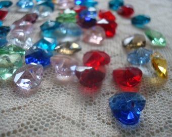 Tiny Faceted Crystal Heart Charms. 10x5mm  Mixed Color Hand Cut Heart Shaped Glass For Dangles. 14pc  or 7 Matched Pairs!  Ships From Oregon