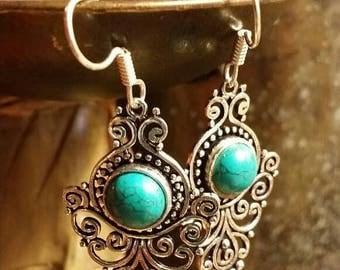 SUMMER SALE 75% Off Turquoise  Earrings Gemstone  .925 Sterling  Silver