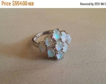 Holiday SALE 85 % OFF Australian Fire Opal Cluster Size 7 Ring Gemstone. 925 Sterling  Silver