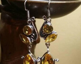 Holiday SALE 85 % OFF Citrine Sterling silver Earrings Gemstone  .925