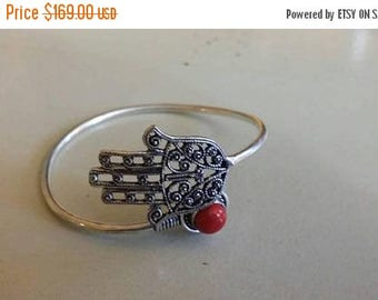 Holiday SALE 85 % OFF Red Coral Bangle Cuff Gemstone 925 Sterling Silver
