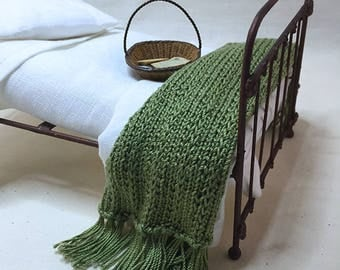 Shabby Chic Handmade Miniature Dollhouse Bed Throw - Hand Knitted- Olive Green