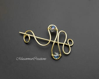 Brass Shawl and Sweater pin,brass wire  Shawl Pin,Shawl brooch, Sweater Pin,