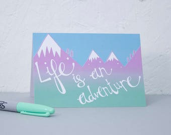 Adventure Card, Birthday card, Note card, Card for traveler, Wanderlust, Bon Voyage, Leaving card