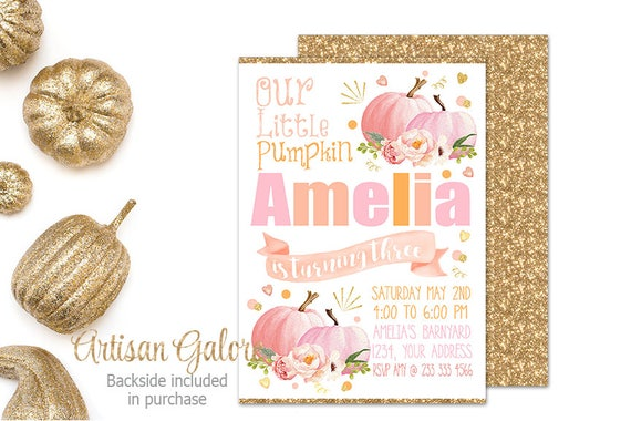 sale pumpkin invitation girl shabby chic pumpkin invitation rustic