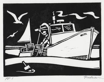 "A 6 x 8 inch Linocut Print, ""Hauling Lobster"", Signed"