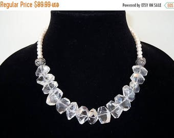 SUPER SALE Chunky Quartz Crystal and Freshwater Pearls Beaded Strand Necklace by Debbie Renee, Crystal and Pearls, One of a Kind