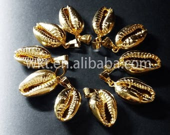 WT-P370 Full gold plated cowrie shell one loop pendants, sea shell cowrie pendants