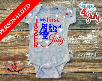 Personalized 4th of July Shirt, Babies 1st 4th of July Shirt, Custom 4th of July Baby Outfit, Patriotic Baby Bodysuit, Infant July 4th Shirt