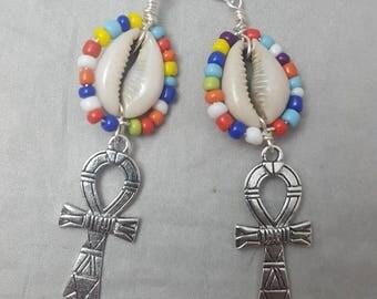 Cowrie Shell Earrings,Afrocentric, Cowrie Shells, Dangle Earrings, Women's Earrings,