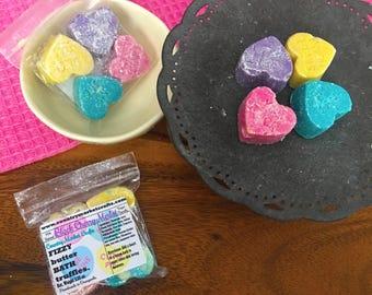 Bath Truffle Gift Set - 4 bath truffles Scented in Black Cherry Merlot - Valentines Day Conversation Hearts