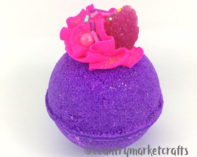 Featured listing image: Raspberry Violet Bath Bombs - Vegan Bath Bomb Natural Bath Fizzy