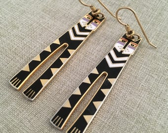 "Laurel Burch Vintage  Signed And Named ""Nubian Cats"" Dangle Earrings"
