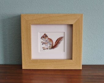 Red Squirrel Watercolour Painting - Animal - Framed Giclee print - Nature Art Poster - Picture and gift for the home - Mini Frame