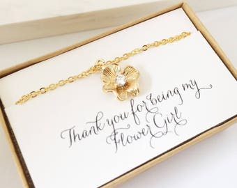 Flower Girl Gift, Flower Girl Bracelet, Gold Flower Bracelet, Little Girl Bracelet, Thanks for Being My Flower Girl, Personalized Bracelet