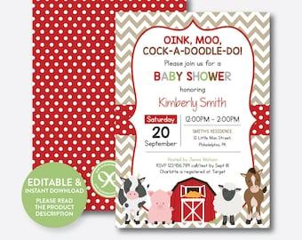 Wonderful Instant Download, Editable Farm Baby Shower Invitation, Red Barnyard Baby  Shower Invitation, Farm