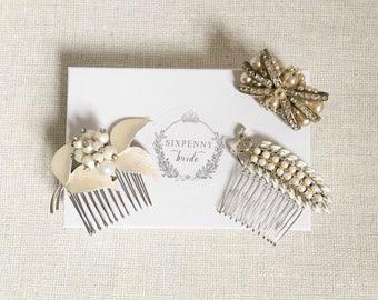 Ivory Bridal Combs. Vintage Brooch Comb. Wedding Hair Accessories. Pearl Crystal Hair Comb Set.