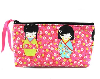"Pocket travel fabric and faux leather ""Kokeshi"""