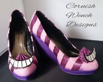 Bespoke Alice in Wonderland Cheshire Cat Custom made Wedges