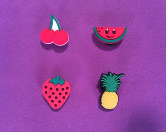 4-pc Fruits Shoe Charms for Crocs, Silicone Bracelet Charms, Party Favors, Jibbitz