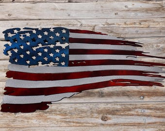2ft Painted USA Flag Tattered