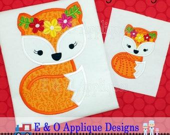 Floral Girl Fox Applique Design - Fox Embroidery Design - Girl Fox Applique Design - Girl Fox Embroidery Design - Fox Machine Applique