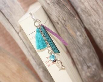 Turquoise & plum customize tassel bookmark