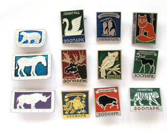 Animals, Zoo, Badge, Fauna, Pick from  Set, Rhino, Bear, Fox, Soviet Vintage Pins, Vintage Badges, Collectibles, USSR era, Russian