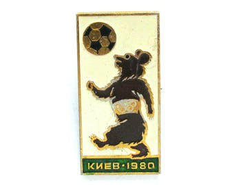 SALE, Bear, Kiev 1980, Football, Sport, Animal, Soviet Children's badge, Vintage collectible badge, Soviet Vintage Pin, USSR, 1980s