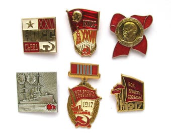 Soviet Badges, Pick from Set, October Revolution, 1917, Party, Communism, Lenin, Rare Vintage collectible badge, Pin, Made in USSR