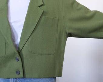 Vintage Clifford & Wills Cropped Green Wool Blazer, Size 12