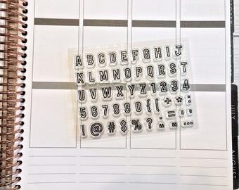 planner stamps, alphabet planner stamps, bullet journal stamps, habit tracker stamp, planner half box, mini outline alphabet stamps