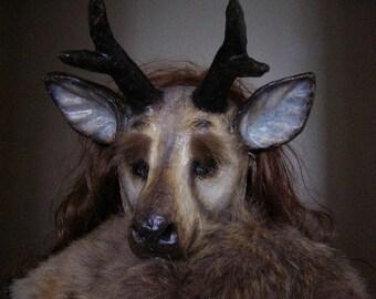 Masquerade mask Stag mask Deer mask Animal mask Paper mache mask Face mask Scary mask Adult mask
