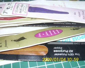 12 Zippers / Polyester Zippers / Metal Zippers / Talon Zippers / Clark Zippers / Coats Zippers / J & P Coats / All Purpose Zippers / 10-16""