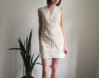 Vintage S/UK8 sleeveless denim mini dress