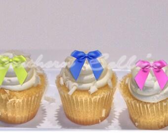 Edible Bow Cupcake Topper-Edible bow cake, cookie topper-edible image-edible cake decorations-personalized party cake topper
