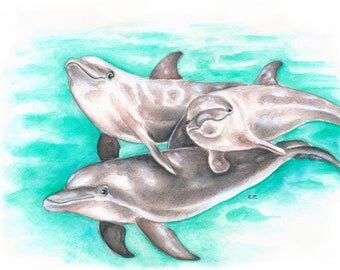 Dolphin Family Turquoise Teal Watercolor Gouache Painting