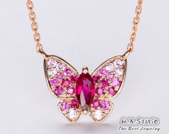Solid 18k Gold Ruby Pave Butterfly Stud Pendant Necklace, Ruby and Pink Sapphire Necklace, Anniversary/Birthday/Wedding/Valentine/Gift