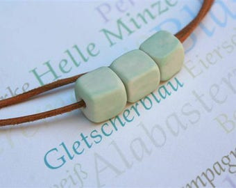 Mint Sugarlumps - sugar cube pendant leather band