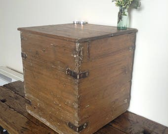 Antique pine chest, coffee table, storage, blanket box. Old wooden box. Antique box with metal bands. Wooden chest, bedding chest, ottoman