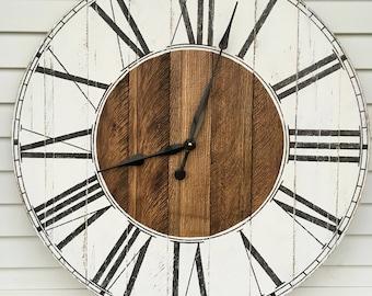 "Wood Clock Rustic Farmhouse Style Wooden Pallet ""Kat"" Clock  6 sizes!"
